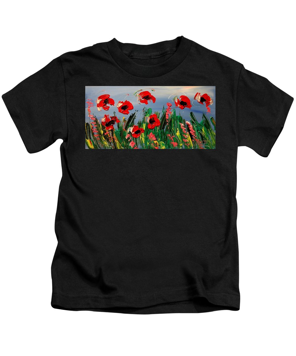 Red Poppies Kids T-Shirt featuring the painting Poppies by Mark Kazav