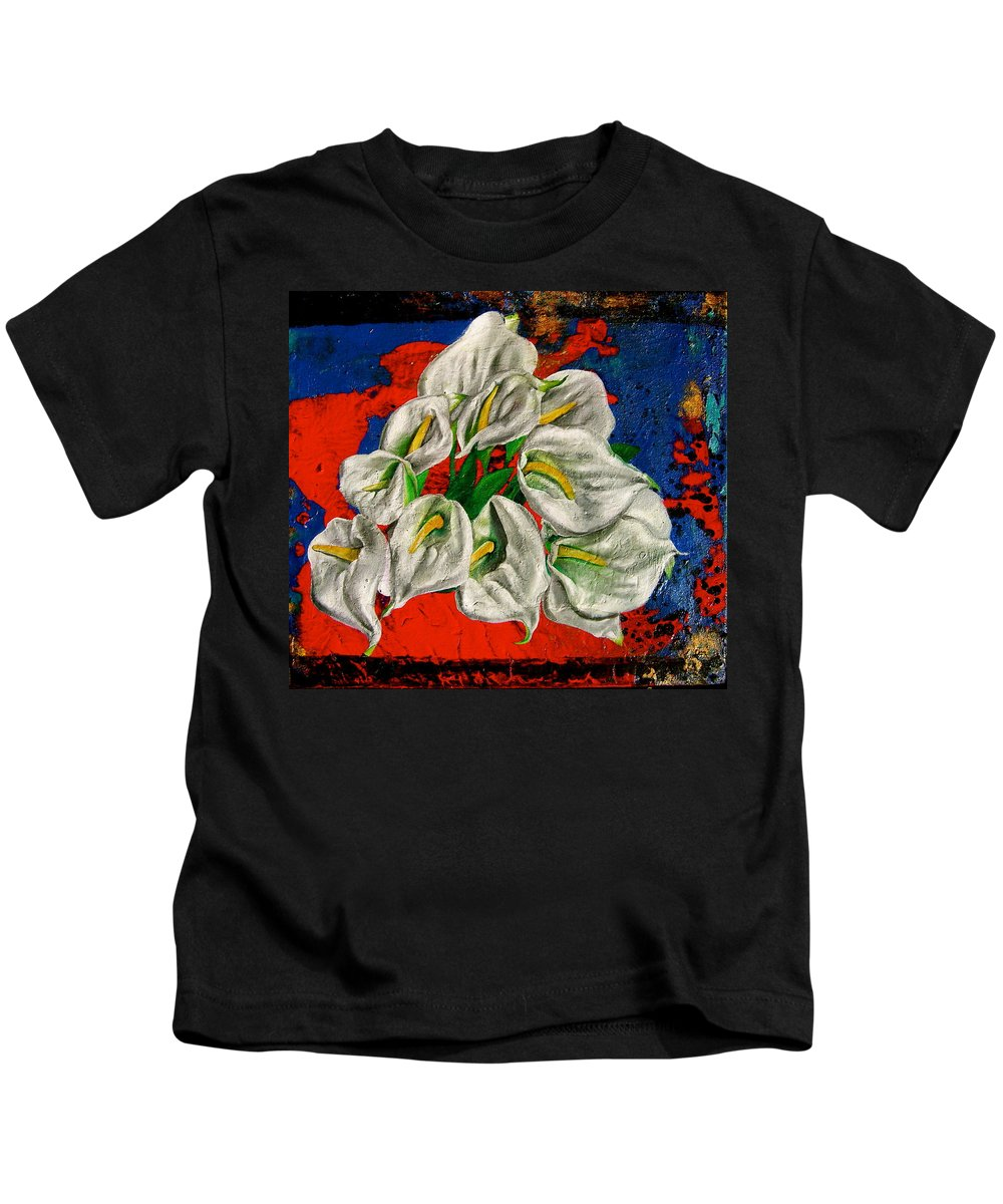 Orchid Painting Kids T-Shirt featuring the painting Preacher In The Pulpit by Laura Pierre-Louis