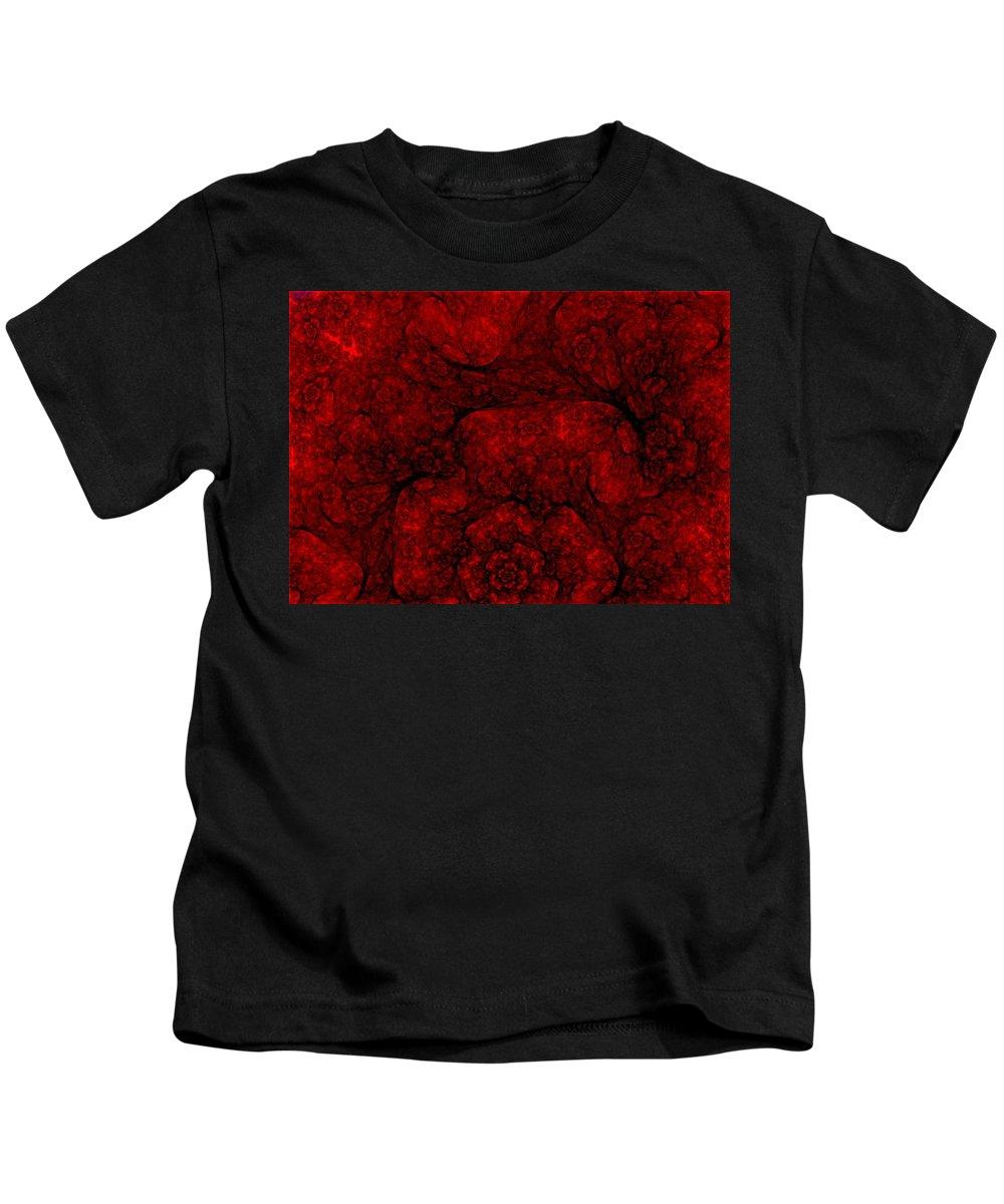 Digital Painting Kids T-Shirt featuring the digital art Red Fractal 051910 by David Lane