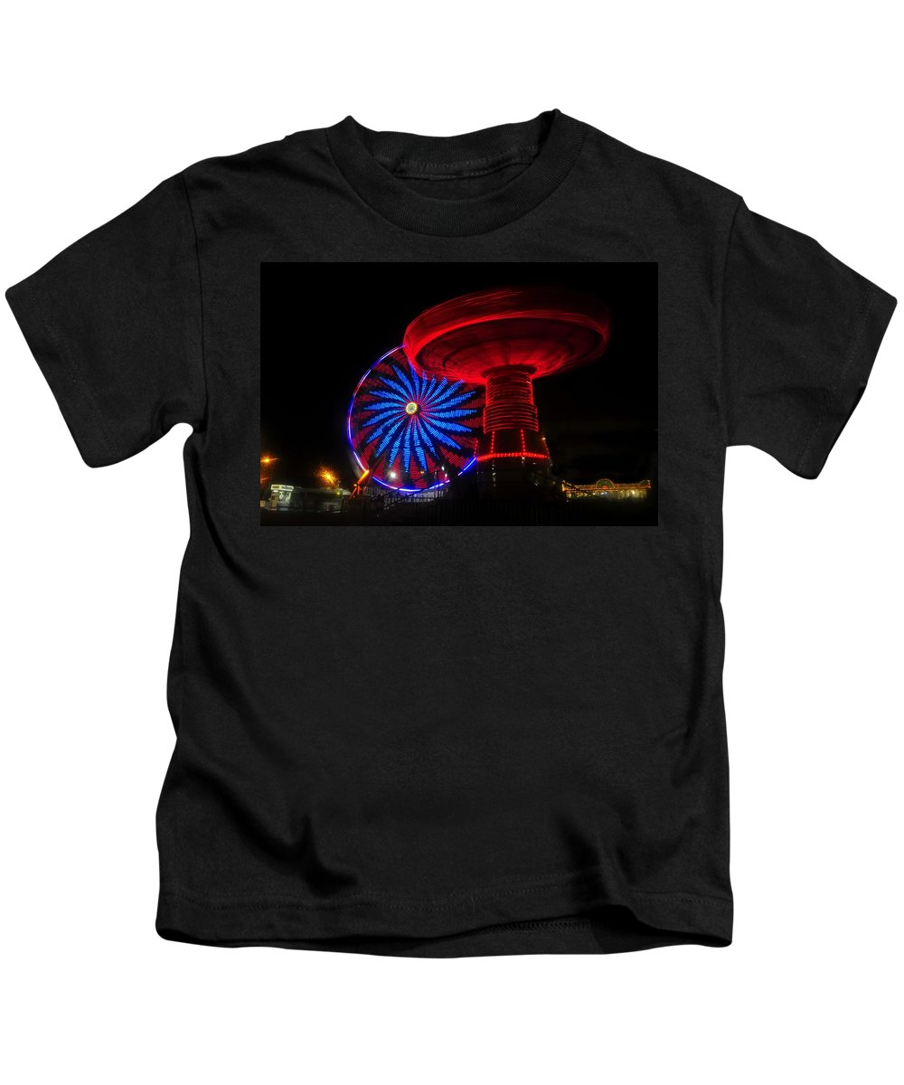 Florida State Fair Kids T-Shirt featuring the photograph Red Wheels by David Lee Thompson
