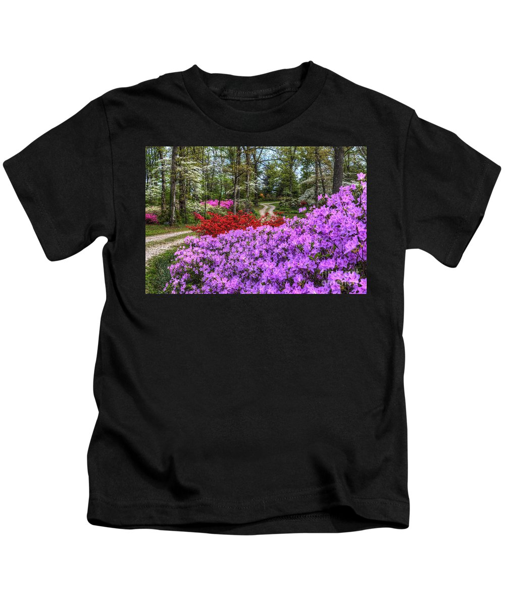 Fine Art Kids T-Shirt featuring the photograph Road With Flowers by Larry Braun