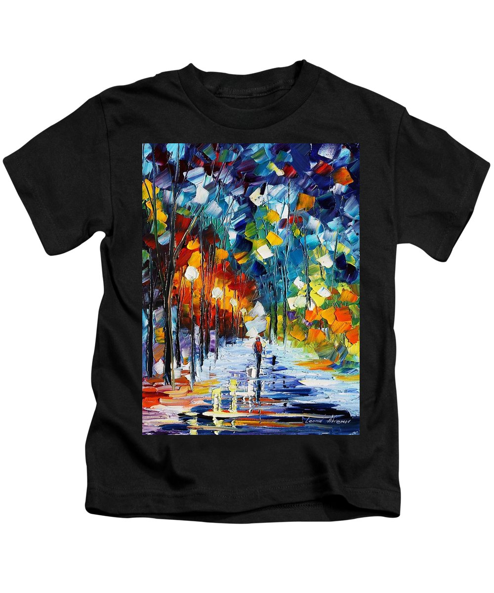 Afremov Kids T-Shirt featuring the painting Romantic Winter by Leonid Afremov