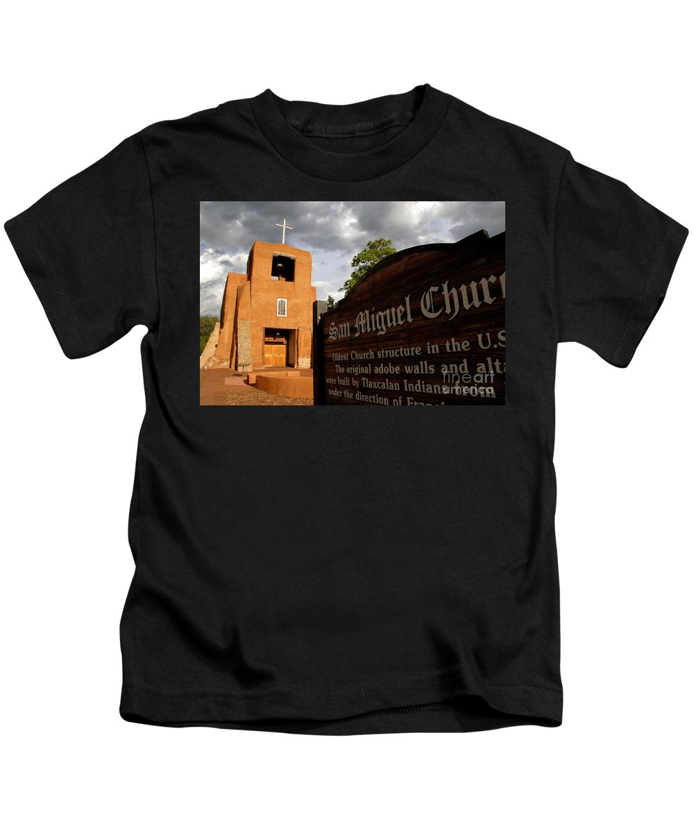 San Miguel Mission Church New Mexico Kids T-Shirt featuring the photograph San Miguel Mission Church by David Lee Thompson