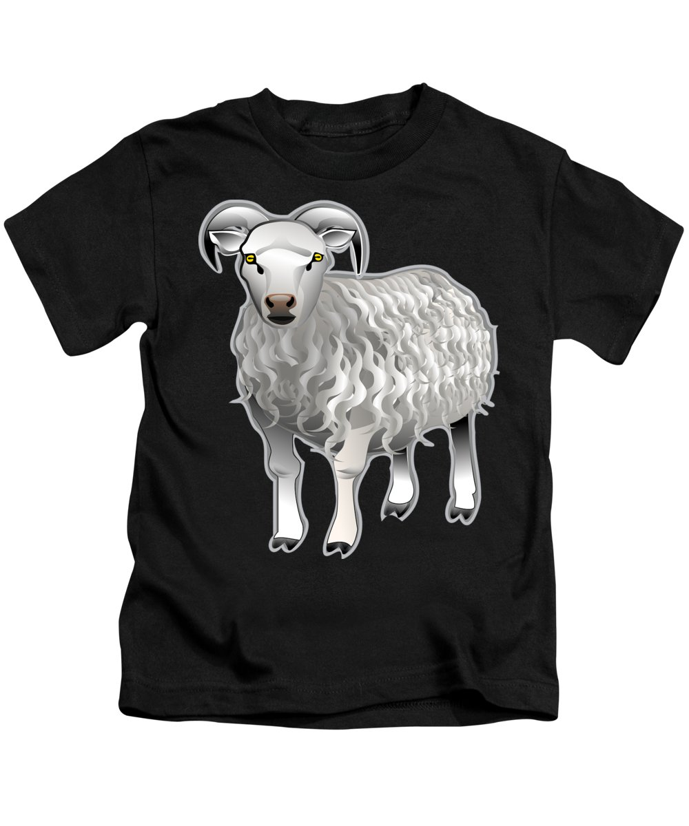 Animal Kids T-Shirt featuring the digital art Sheep by Frederick Holiday