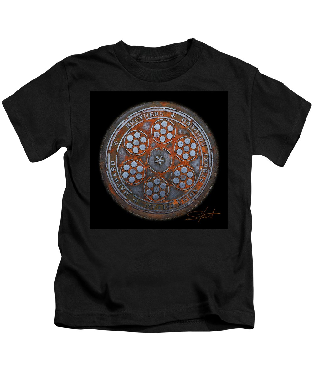 Manhole Kids T-Shirt featuring the photograph Shield by Charles Stuart