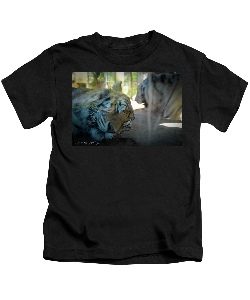 Sleepy Kitty Kids T-Shirt featuring the photograph Sleepy Kitty by RLS Artography