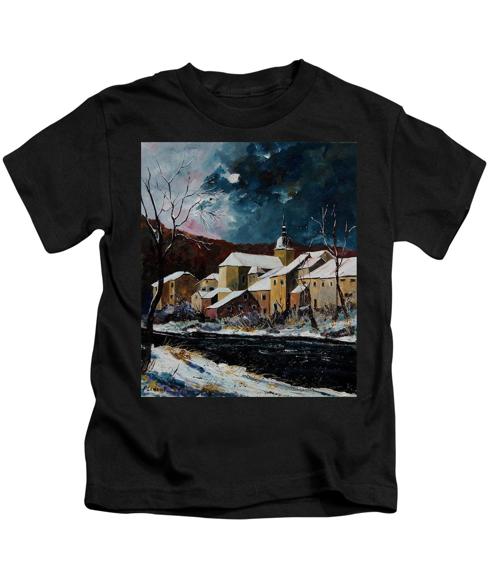 Winter Kids T-Shirt featuring the painting Snow In Chassepierre by Pol Ledent