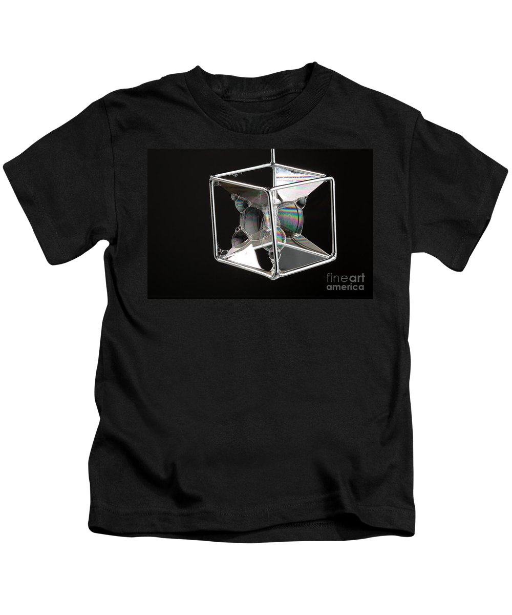 Bubble Kids T-Shirt featuring the photograph Soap Films On A Cube by Ted Kinsman