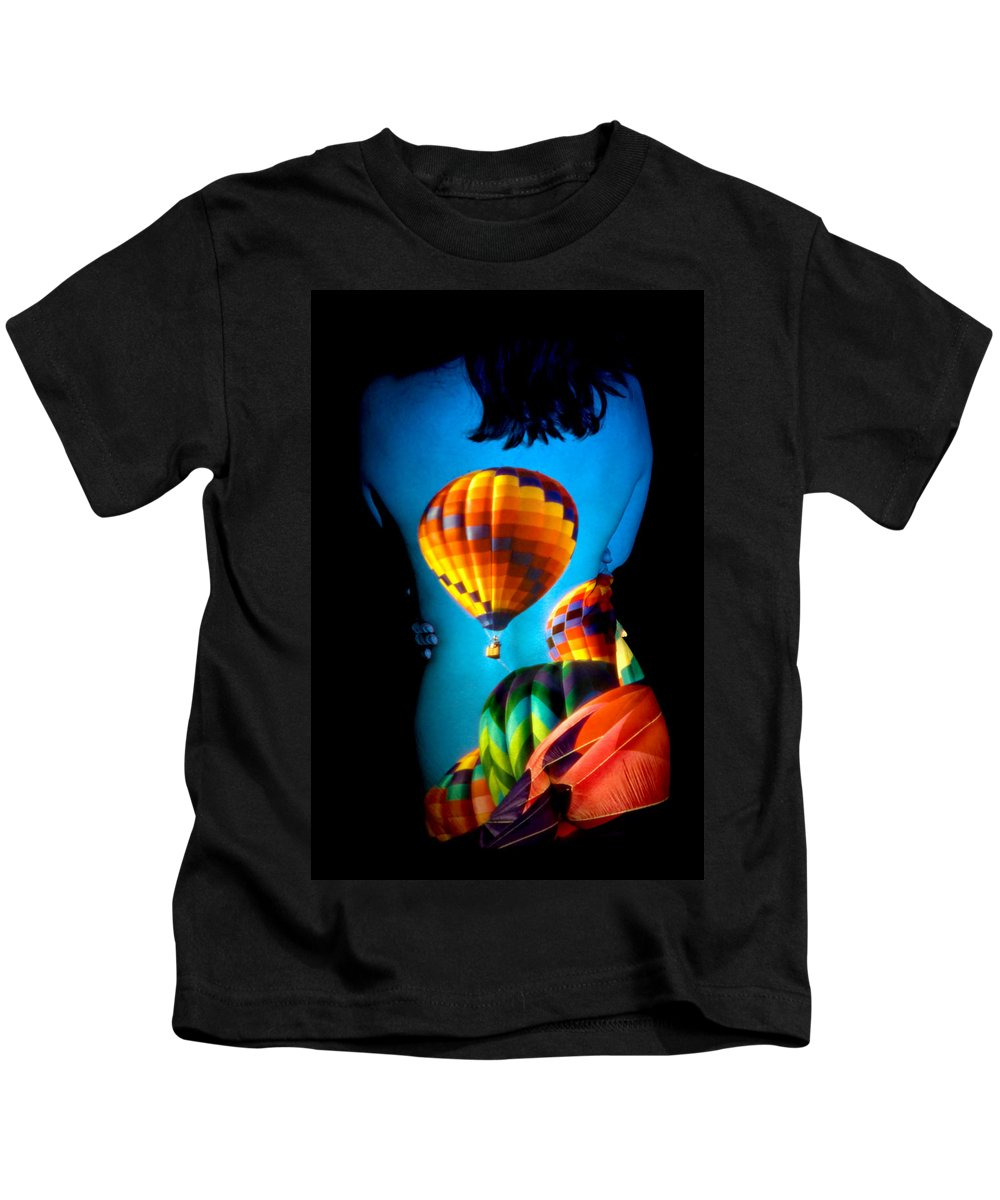 Hot Air Balloon Kids T-Shirt featuring the photograph Soarin Beauty by Greg Fortier