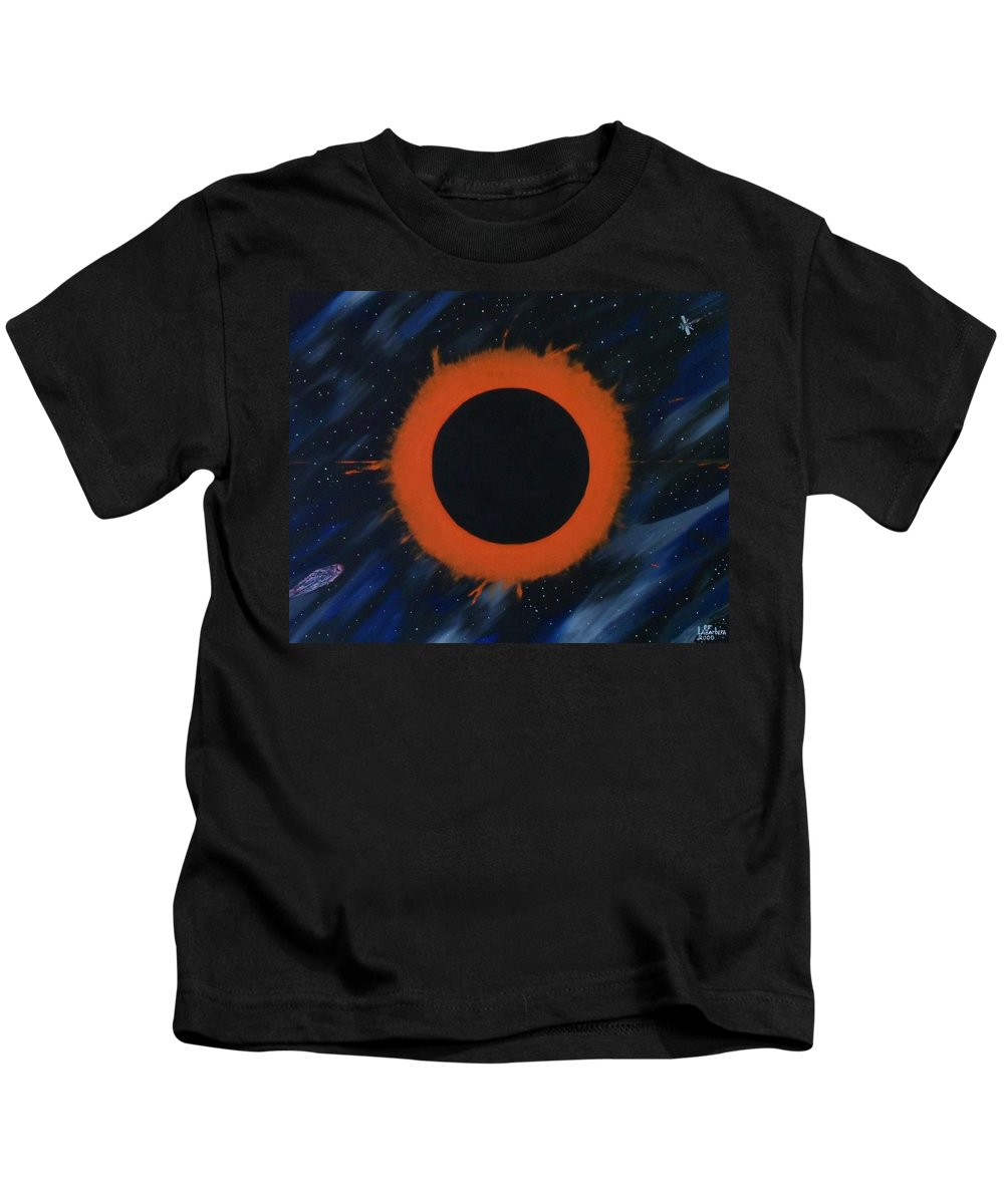 Astronomy Kids T-Shirt featuring the painting Solar Eclipse by Paul F Labarbera