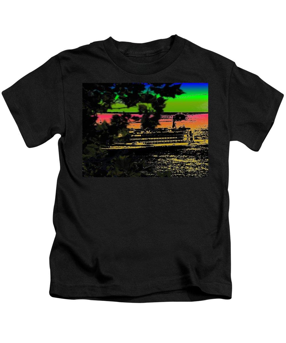 Ferry Kids T-Shirt featuring the digital art Soundside Treehouse View by Tim Allen