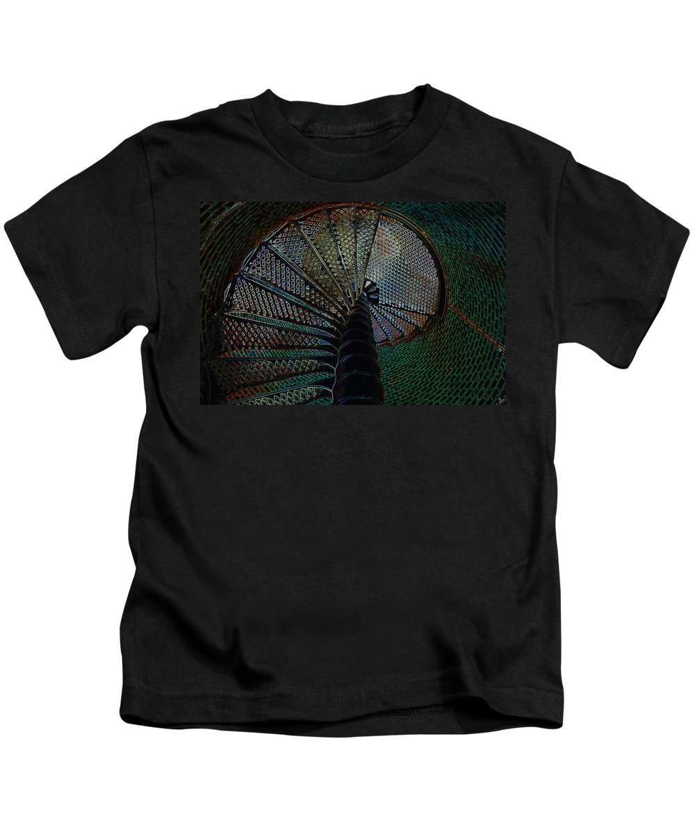Art Kids T-Shirt featuring the painting Spiral Staircase by David Lee Thompson