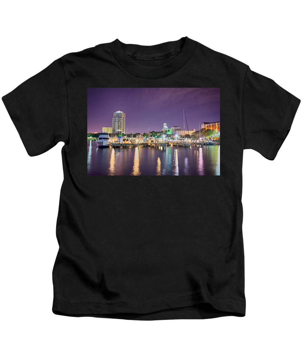 Florida Kids T-Shirt featuring the photograph St Petersburg Florida City Skyline And Waterfront At Night by Alex Grichenko