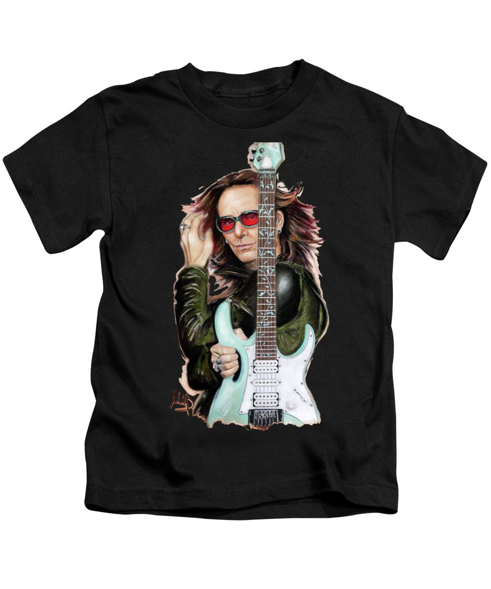 Steve Vai Kids T-Shirt featuring the painting Steve Vai by Melanie D