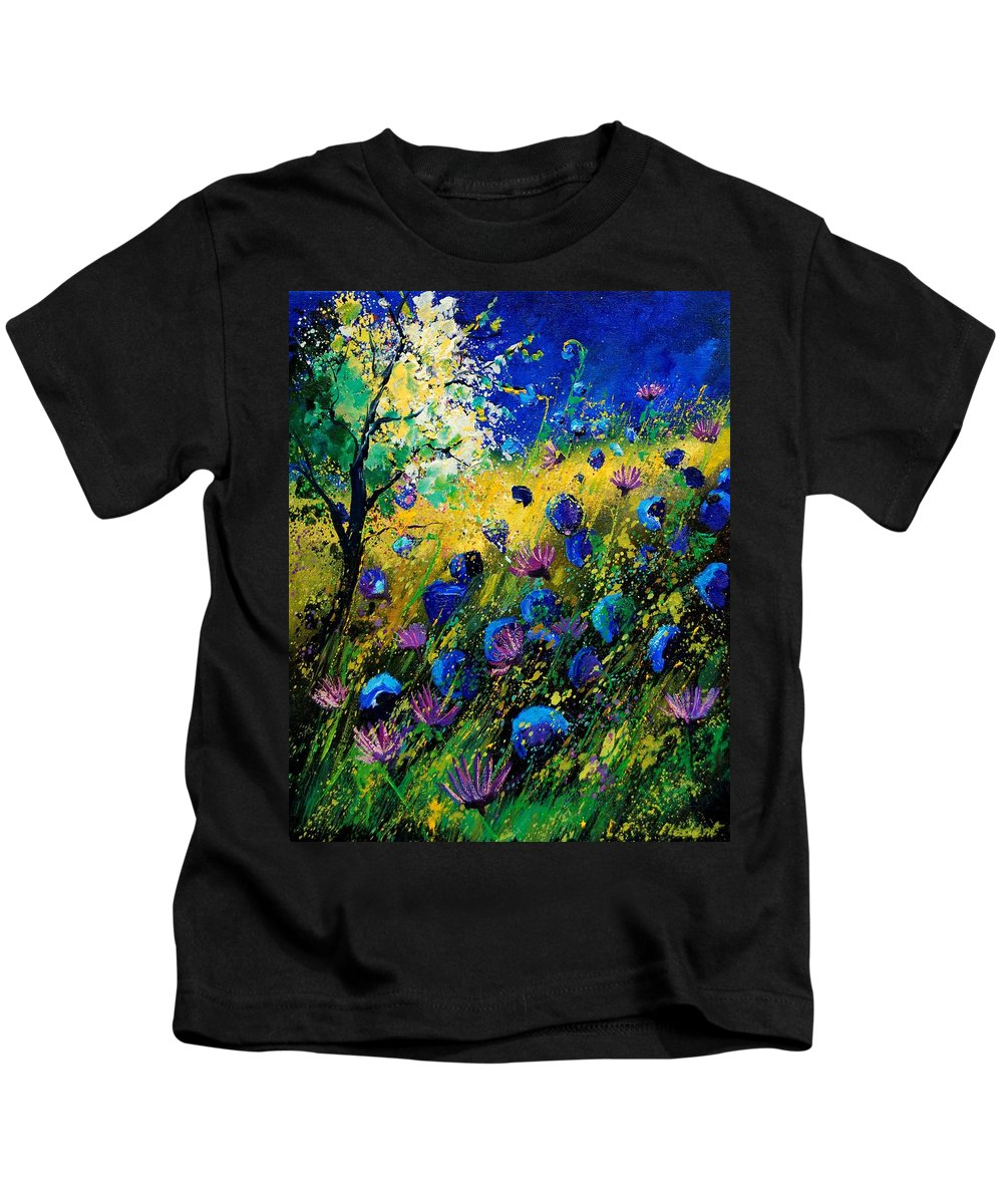 Poppies Kids T-Shirt featuring the painting Summer 450208 by Pol Ledent