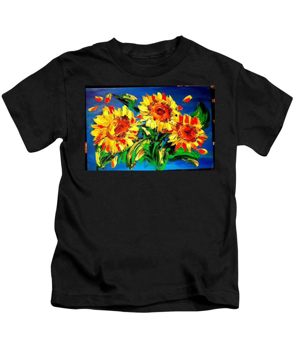 Red Poppies Kids T-Shirt featuring the painting Sunflowers by Mark Kazav