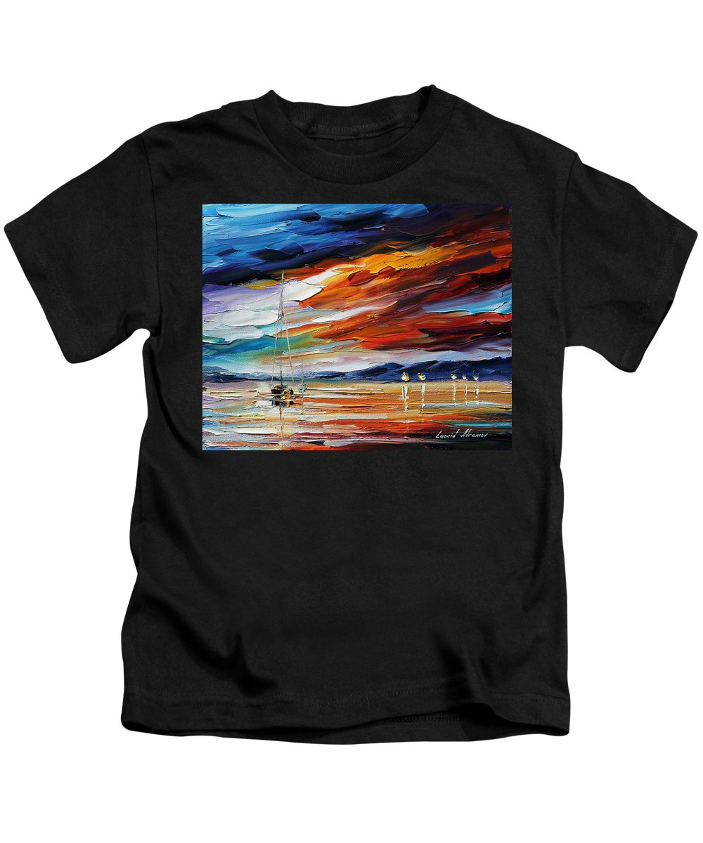 Afremov Kids T-Shirt featuring the painting Sunset by Leonid Afremov