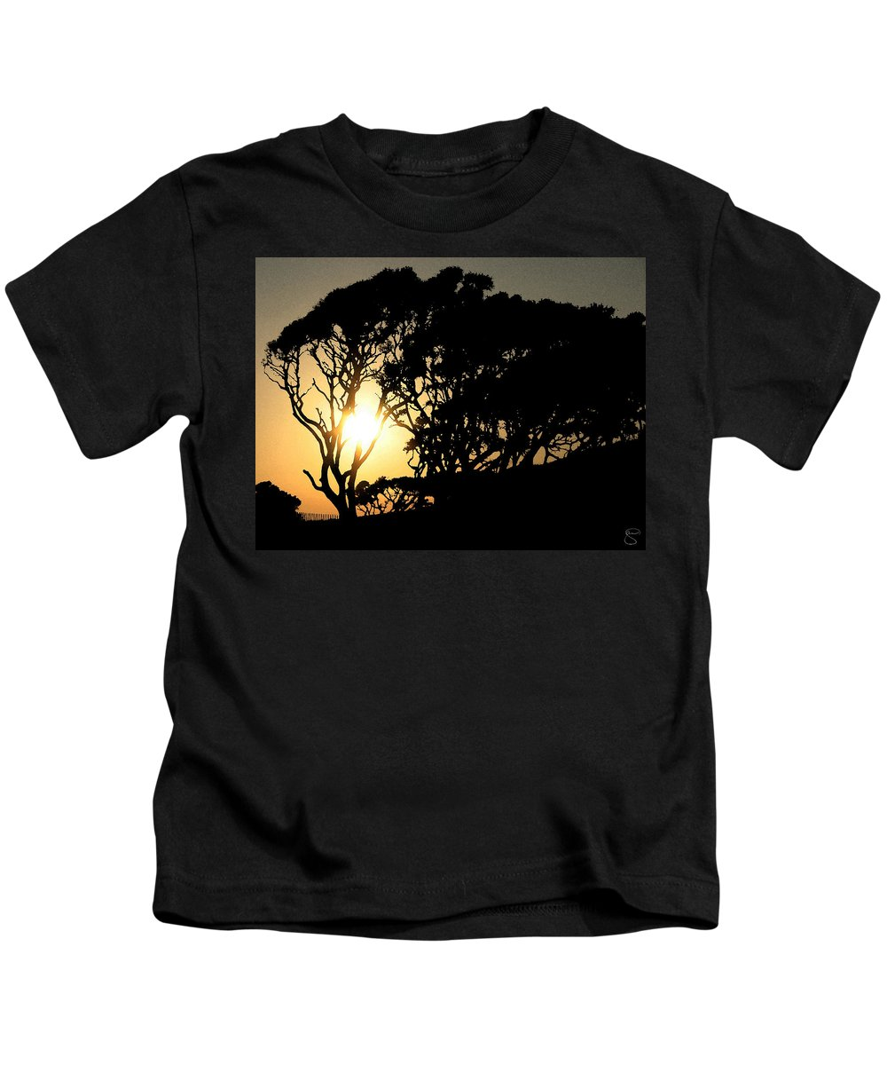 Tree Kids T-Shirt featuring the digital art Sunset Silhouette by Stacey May