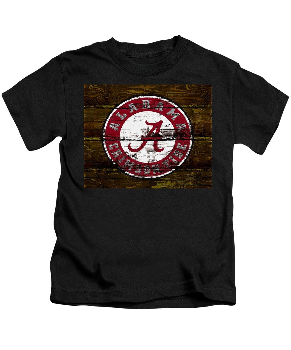 The Alabama Crimson Tide Kids T-Shirt featuring the mixed media The Alabama Crimson Tide by Brian Reaves