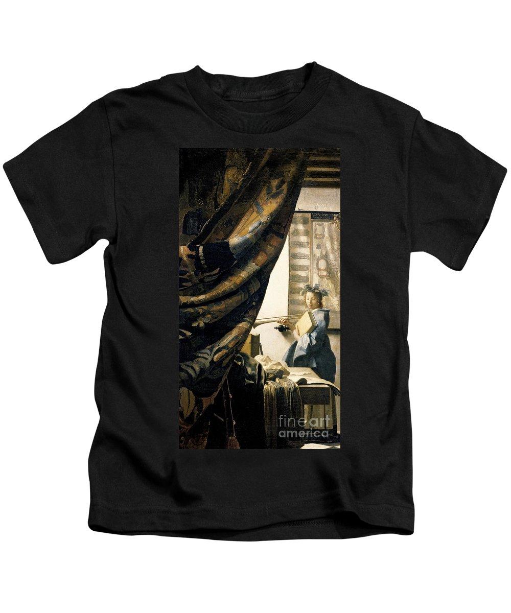 Vermeer Kids T-Shirt featuring the painting The Artist's Studio by Jan Vermeer