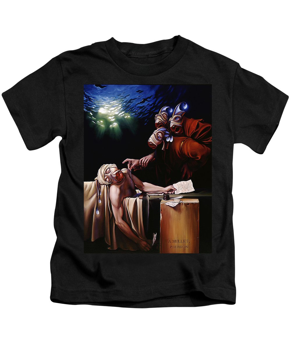 Mermais Kids T-Shirt featuring the painting The Death Of Mullet by Patrick Anthony Pierson