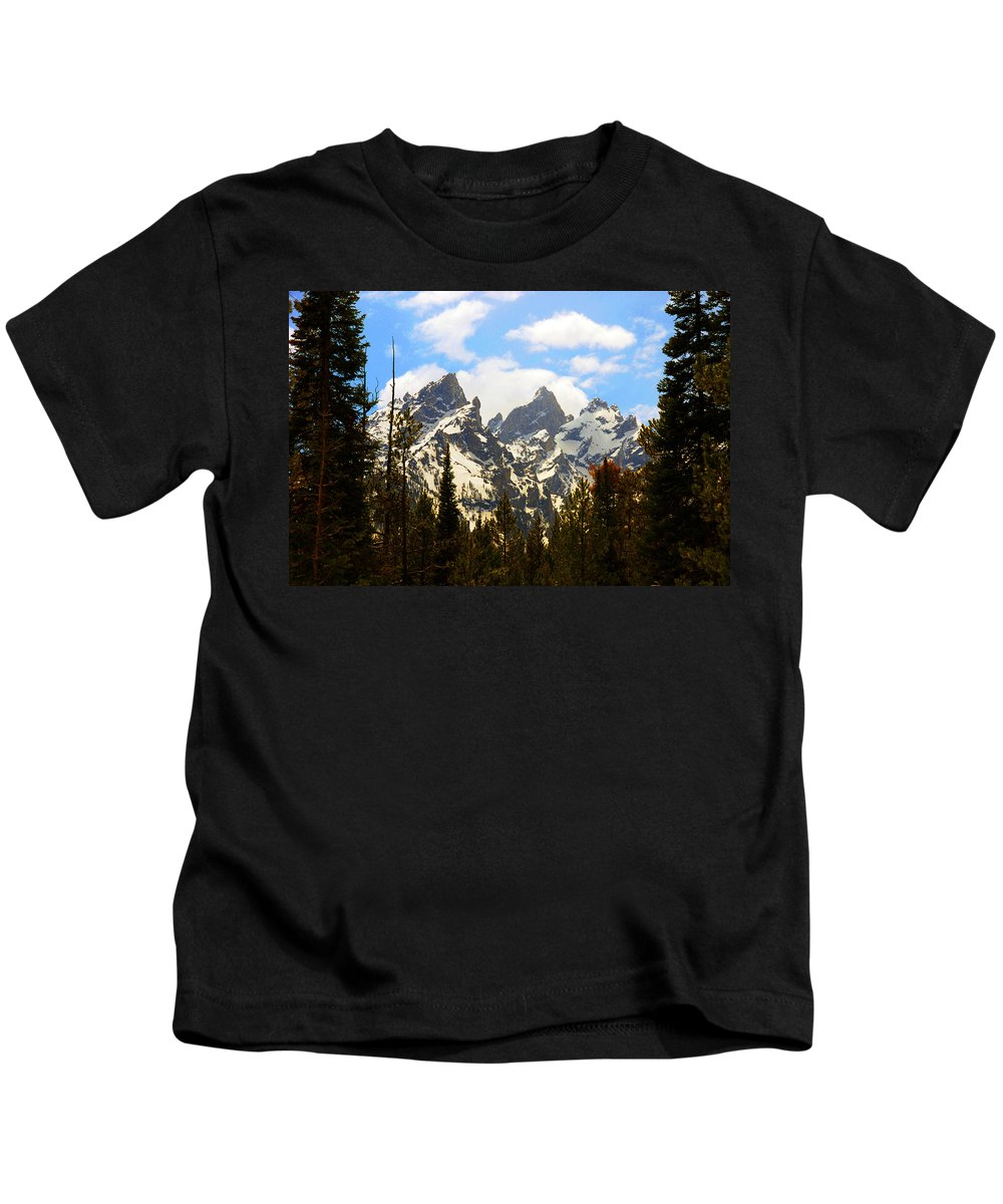 Photography Kids T-Shirt featuring the photograph The Grand Tetons by Susanne Van Hulst