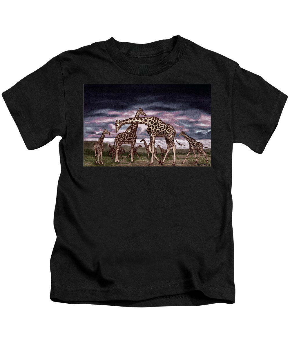 The Herd Kids T-Shirt featuring the drawing The Herd by Peter Piatt