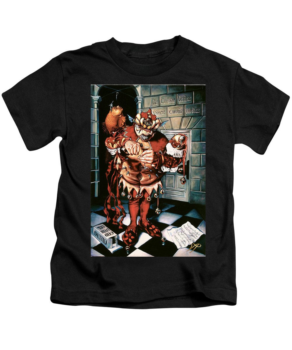 Jester Kids T-Shirt featuring the painting The Jesterook by Patrick Anthony Pierson