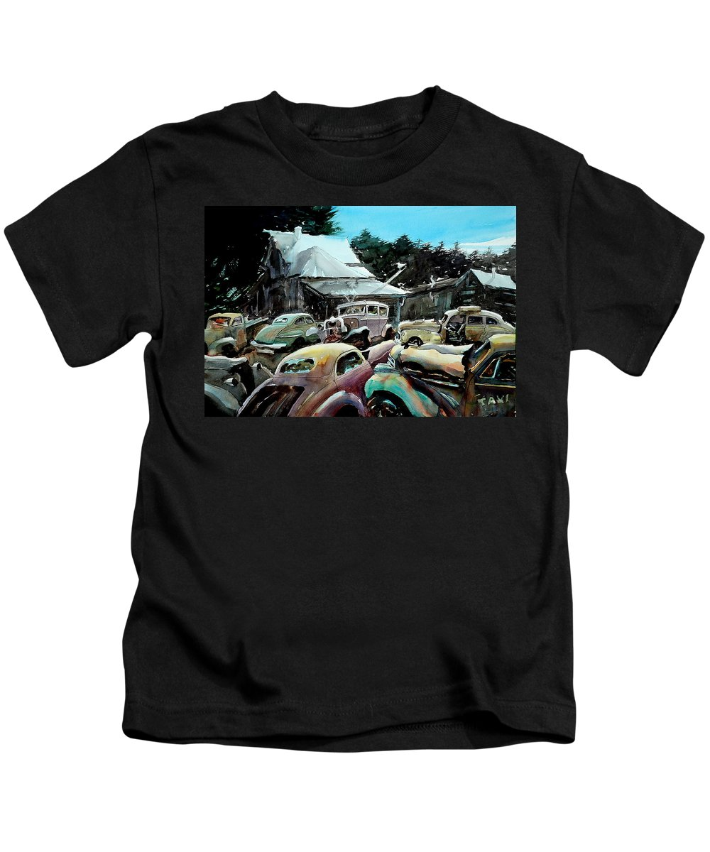 Cars Kids T-Shirt featuring the painting The Last Stand by Ron Morrison