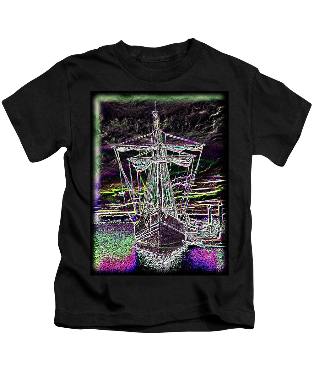 Wooden Boat Kids T-Shirt featuring the digital art The Nina by Tim Allen