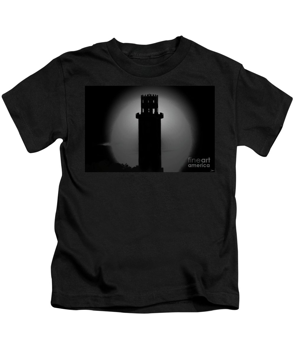 Art Kids T-Shirt featuring the painting The Tower by David Lee Thompson