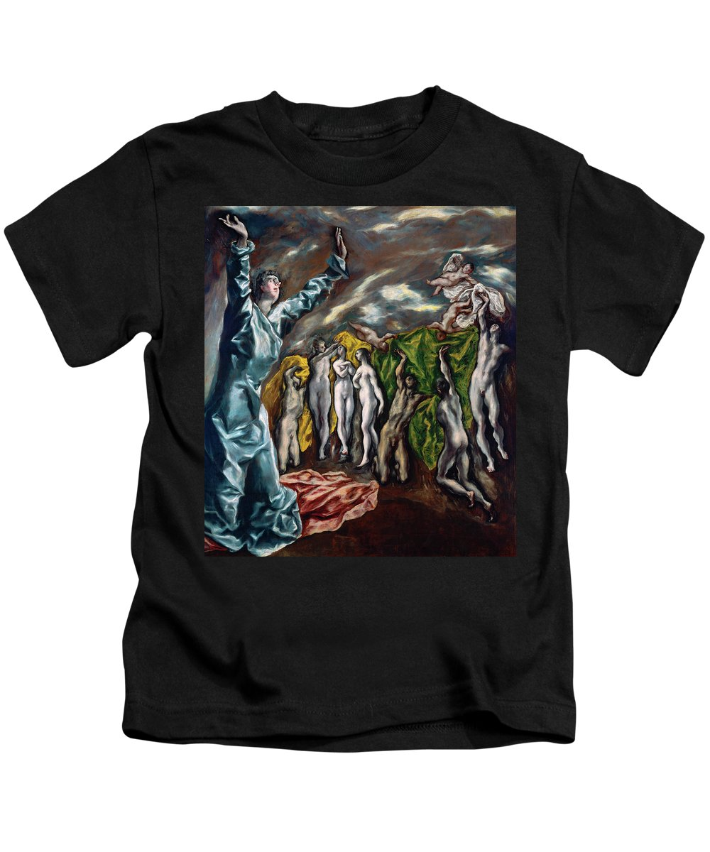 Cinquecento Kids T-Shirt featuring the painting The Vision Of Saint John by El Greco