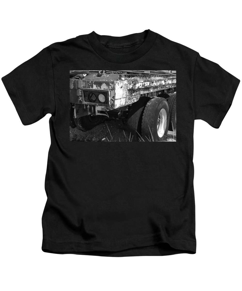 Black And White Kids T-Shirt featuring the photograph Truck Lights by Rob Hans