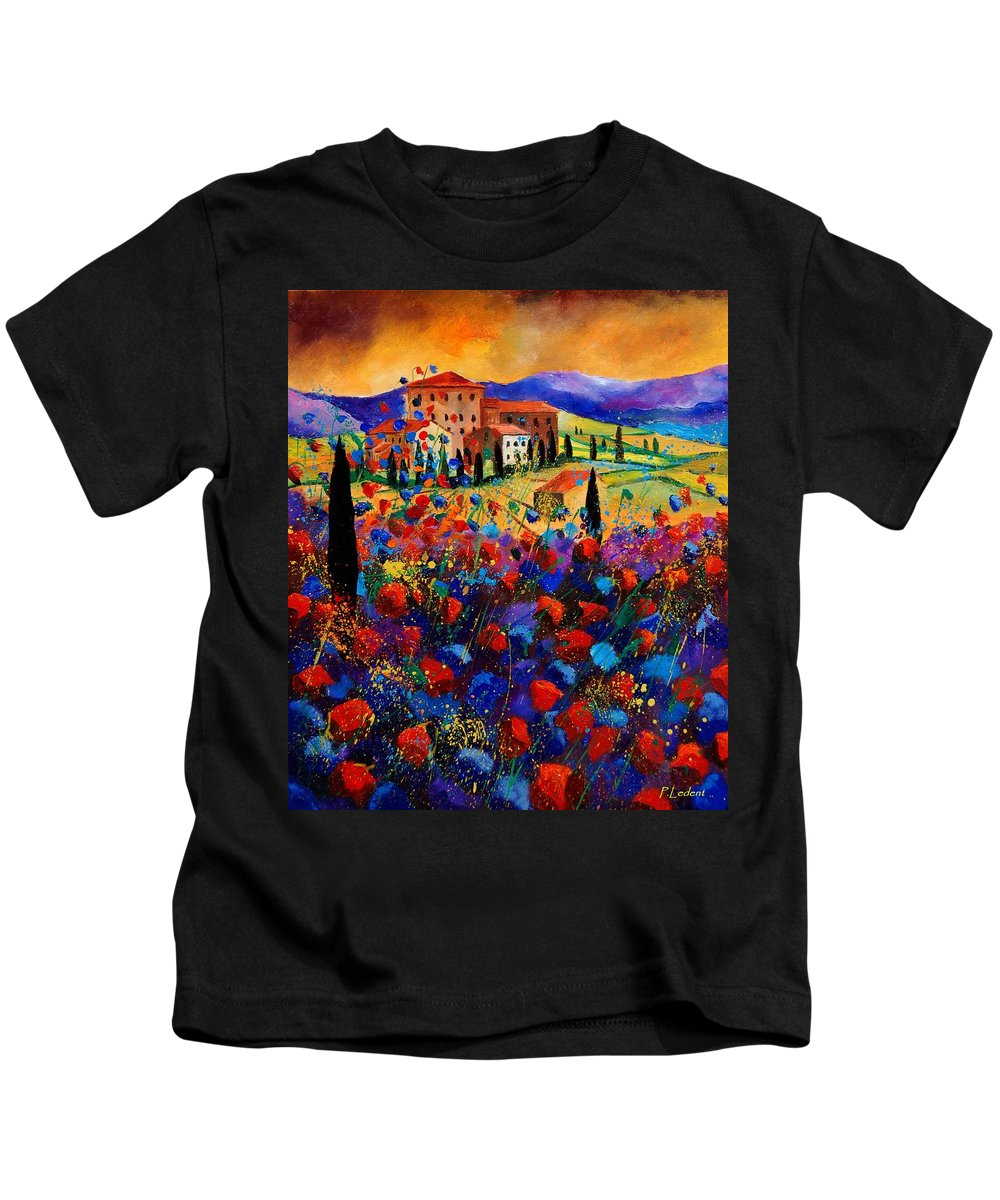 Flowers Kids T-Shirt featuring the painting Tuscany Poppies by Pol Ledent