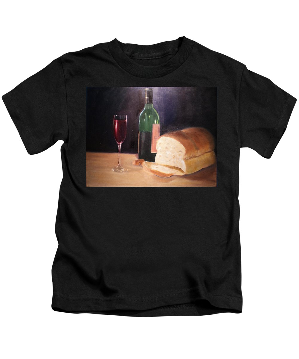 Wine Kids T-Shirt featuring the painting Untitled by Toni Berry