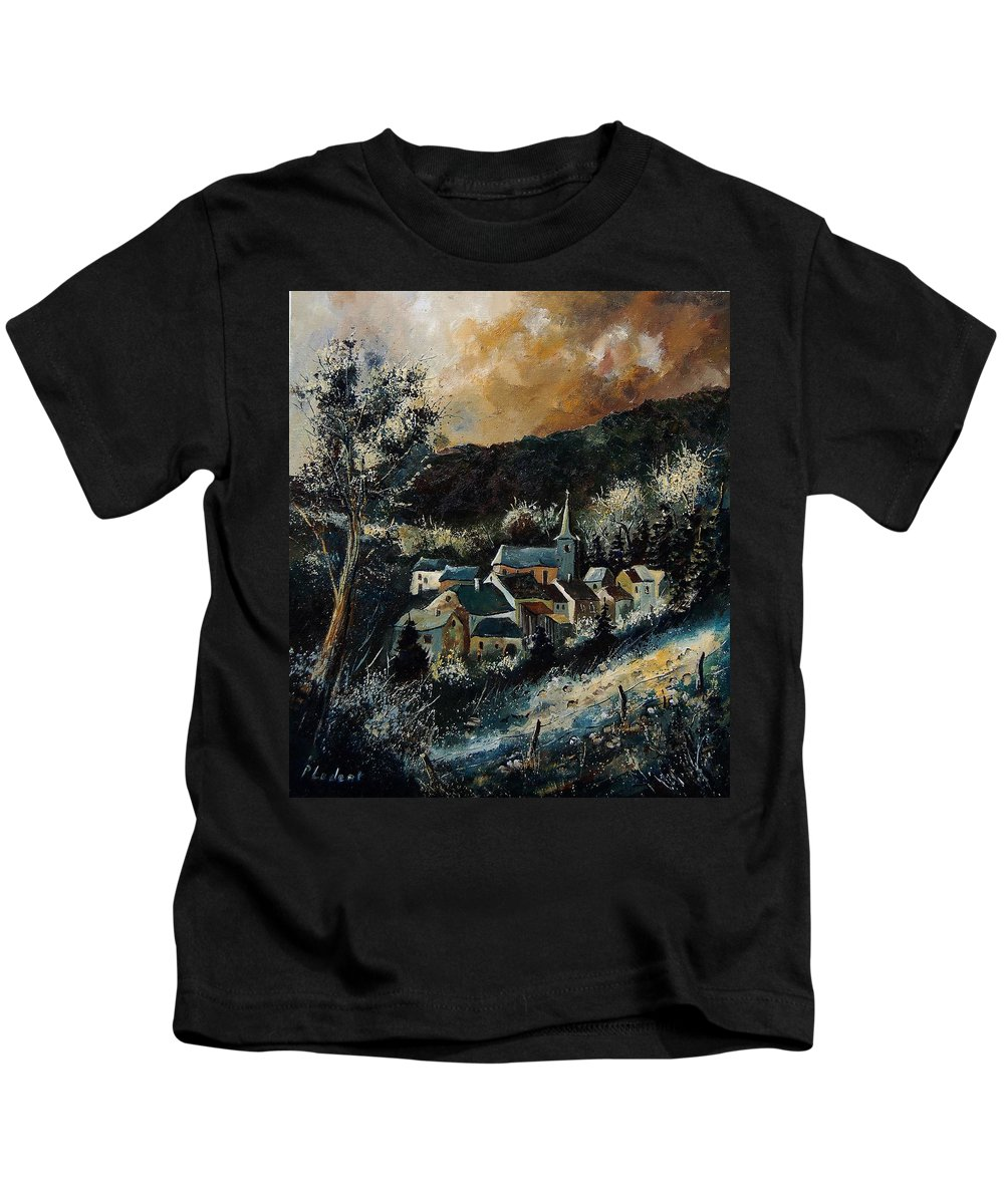 Tree Kids T-Shirt featuring the painting Vencimont 78 by Pol Ledent