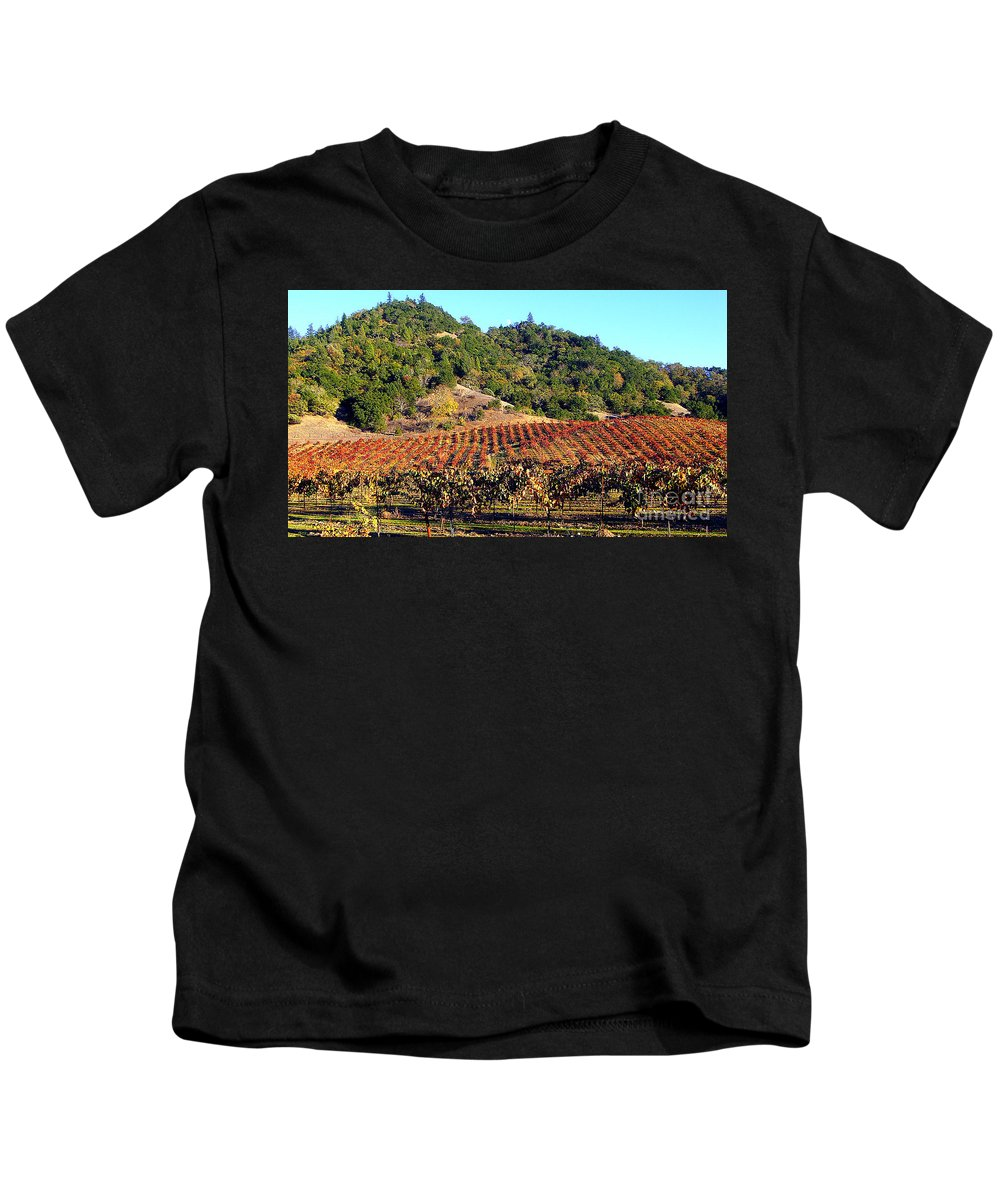 North California Napa Valley Wine Country Kids T-Shirt featuring the photograph Vineyard 3 by Xueling Zou