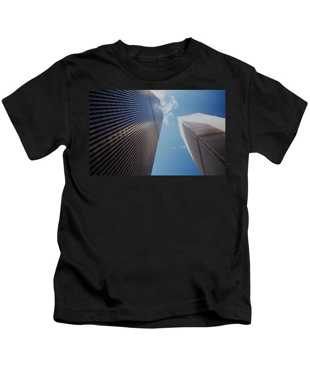 Wtc Kids T-Shirt featuring the photograph W T C 1 And 2 by Rob Hans