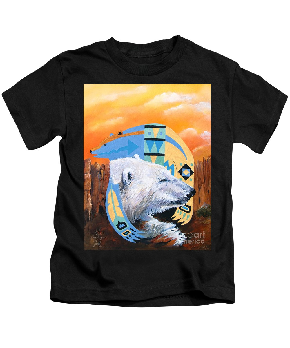 Polar Bear Kids T-Shirt featuring the painting White Bear Goes Southwest by J W Baker