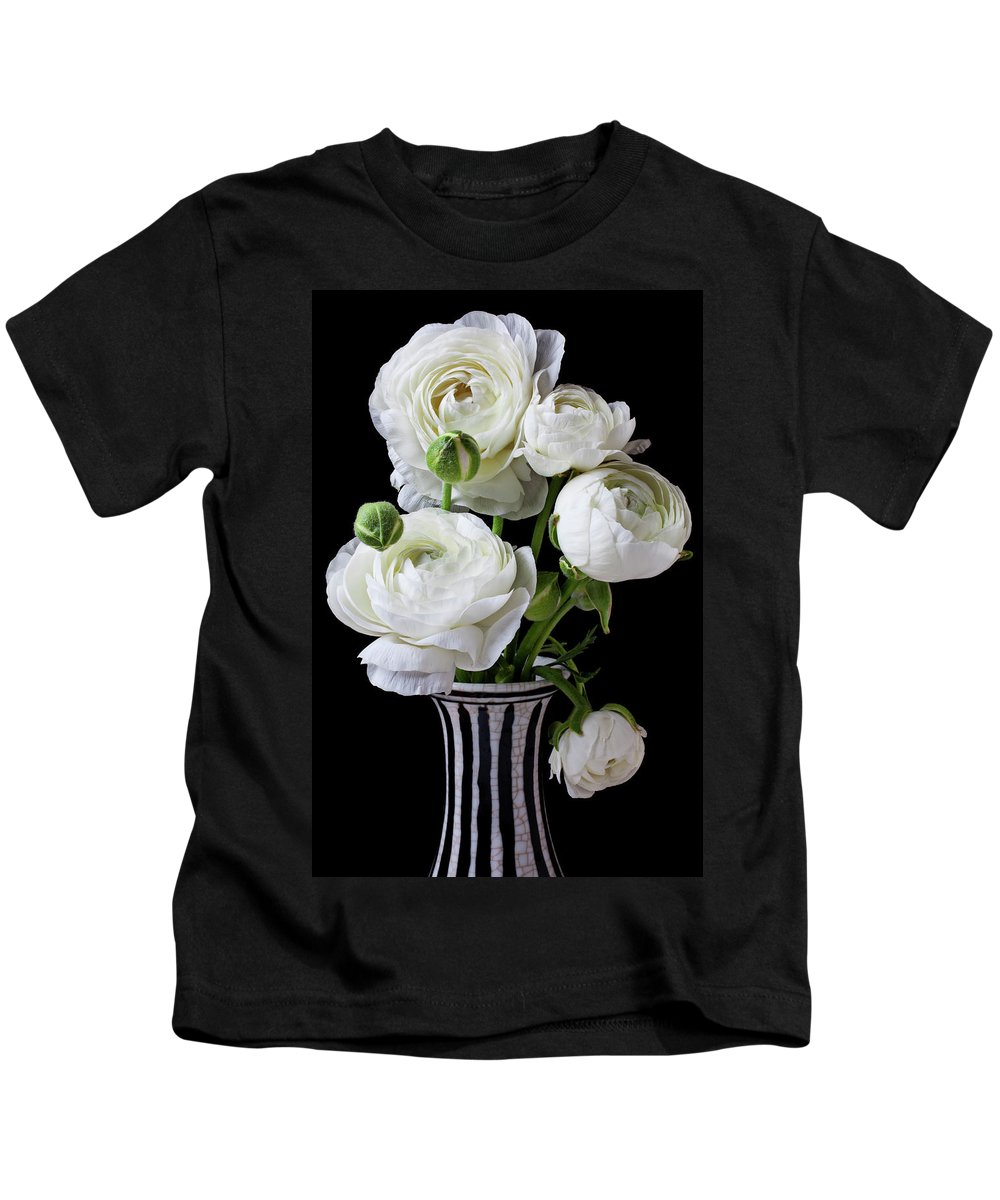 White Ranunculus Flower Vase Floral Kids T-Shirt featuring the photograph White Ranunculus In Black And White Vase by Garry Gay