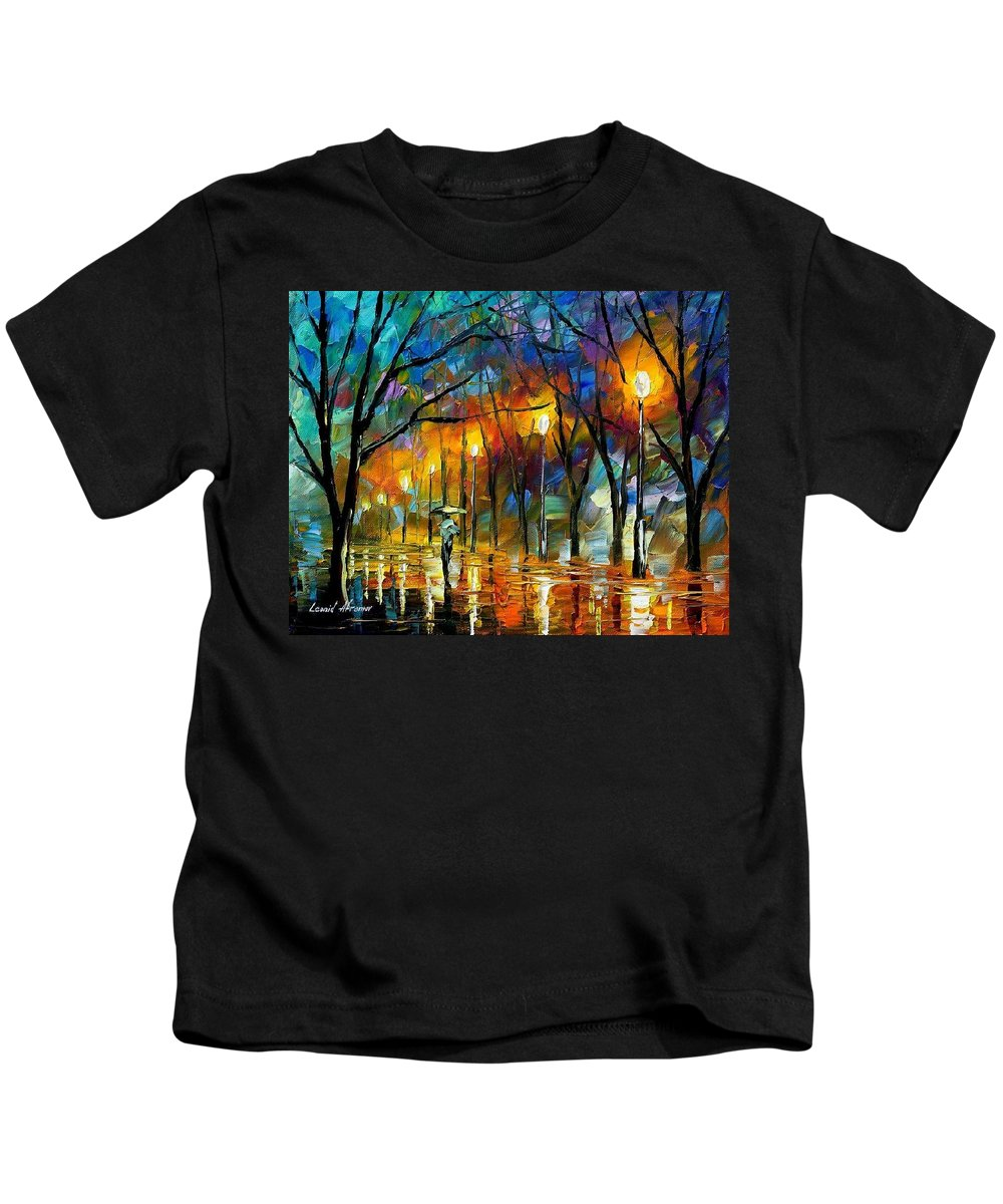 Landscape Kids T-Shirt featuring the painting Winter by Leonid Afremov
