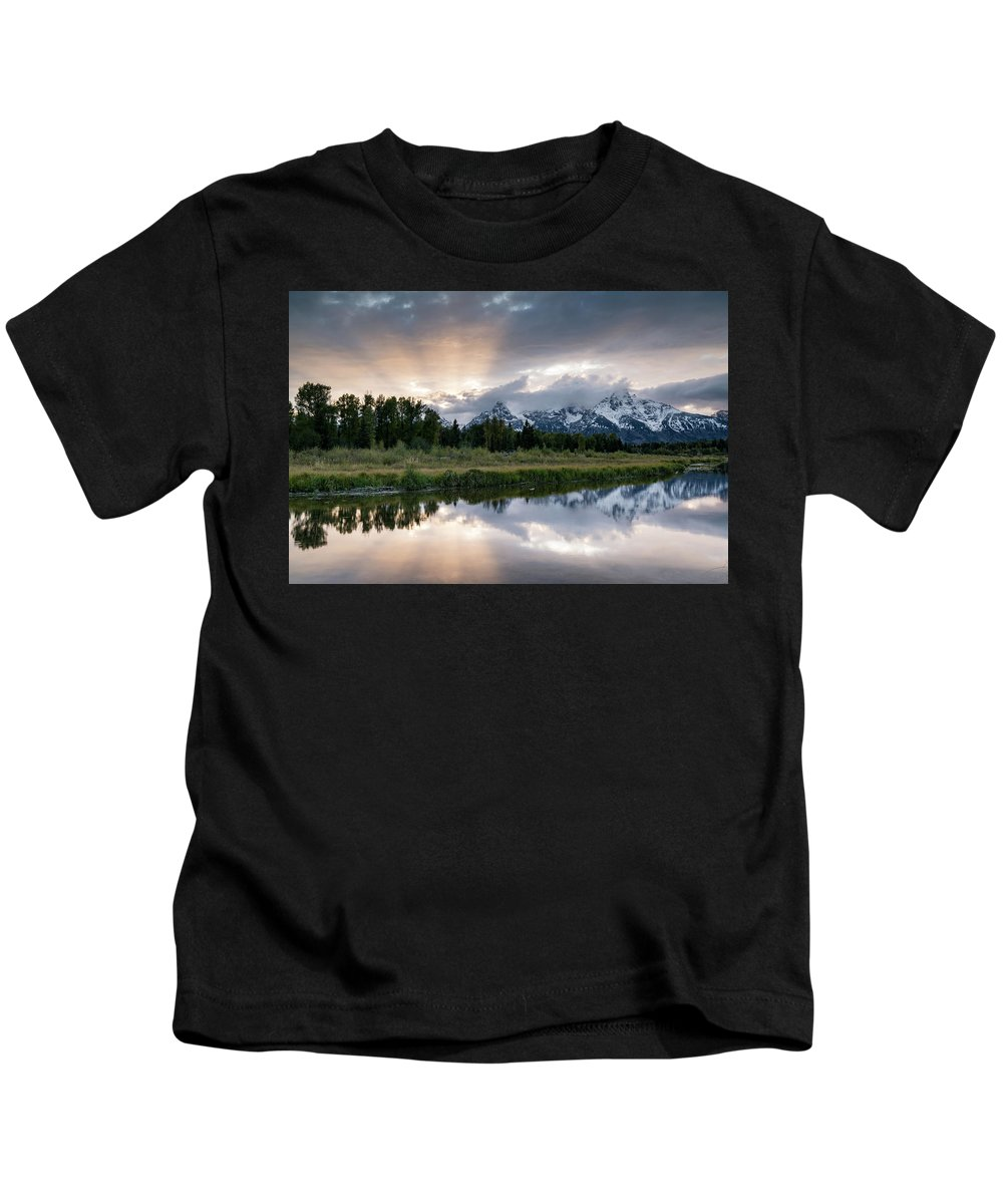 Sunset Kids T-Shirt featuring the photograph Wyoming Sunset by Jeremy Duguid