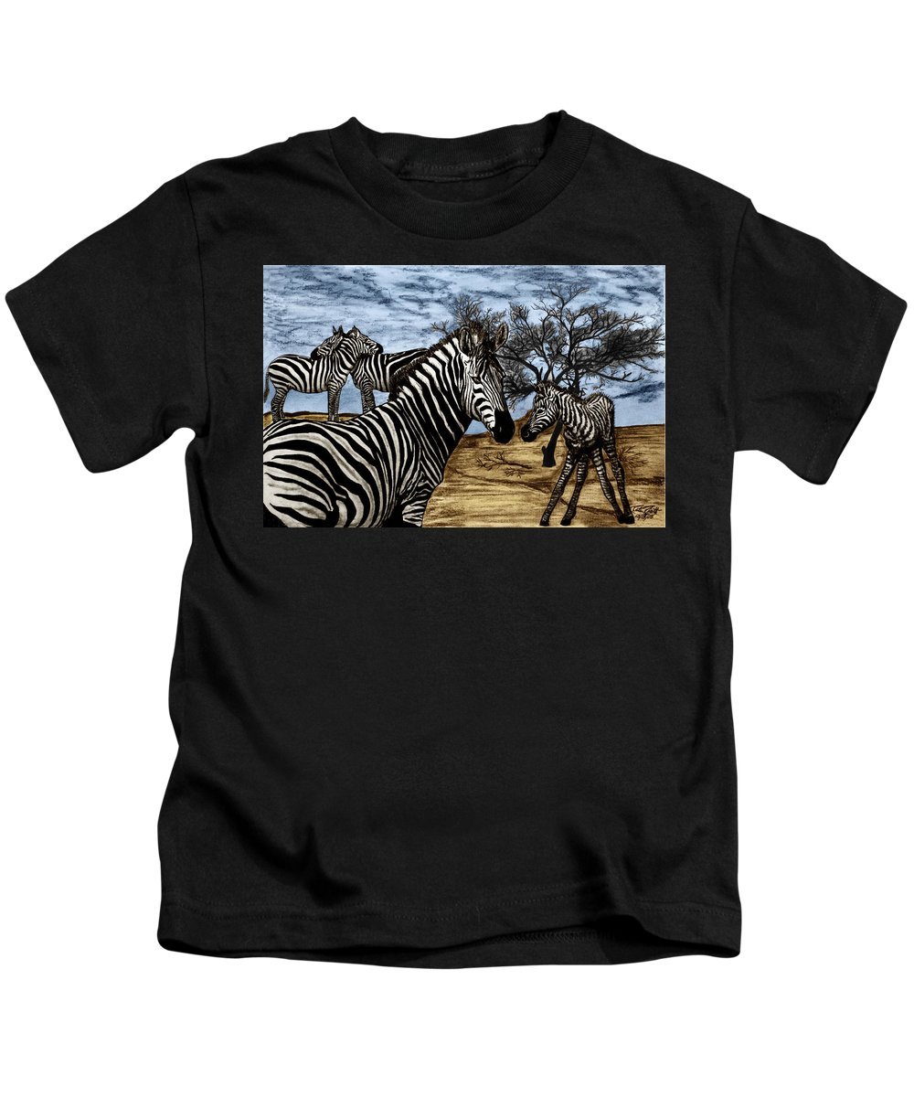 Zebra Outback Kids T-Shirt featuring the drawing Zebra Outback by Peter Piatt