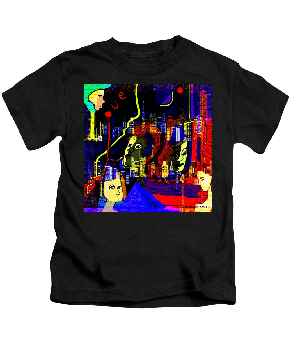 Mysterious Kids T-Shirt featuring the painting 103 -  Psychedelic City Night .. by Irmgard Schoendorf Welch