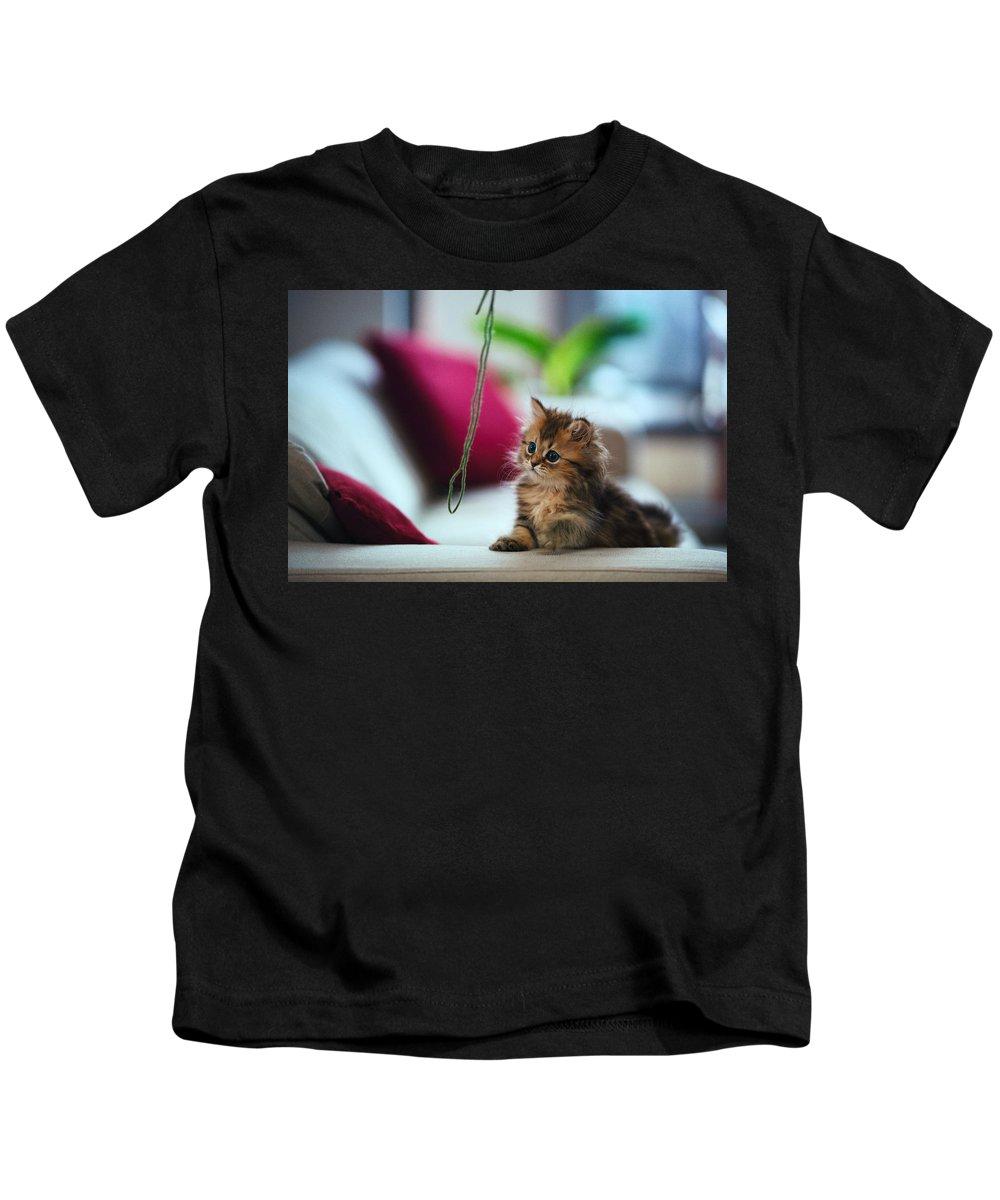 Cat Kids T-Shirt featuring the digital art Cat by Dorothy Binder