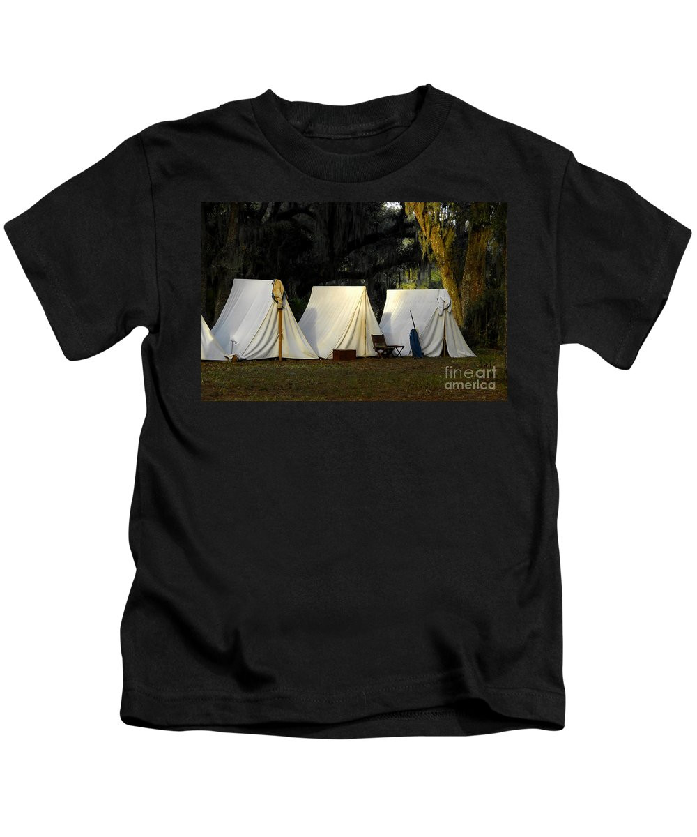 Army Tents Kids T-Shirt featuring the photograph 1800s Army Tents by David Lee Thompson