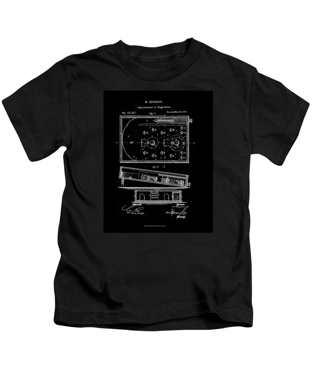 Bagatelle Kids T-Shirt featuring the drawing 1871 Bagatelles Patent Drawing by Steve Kearns
