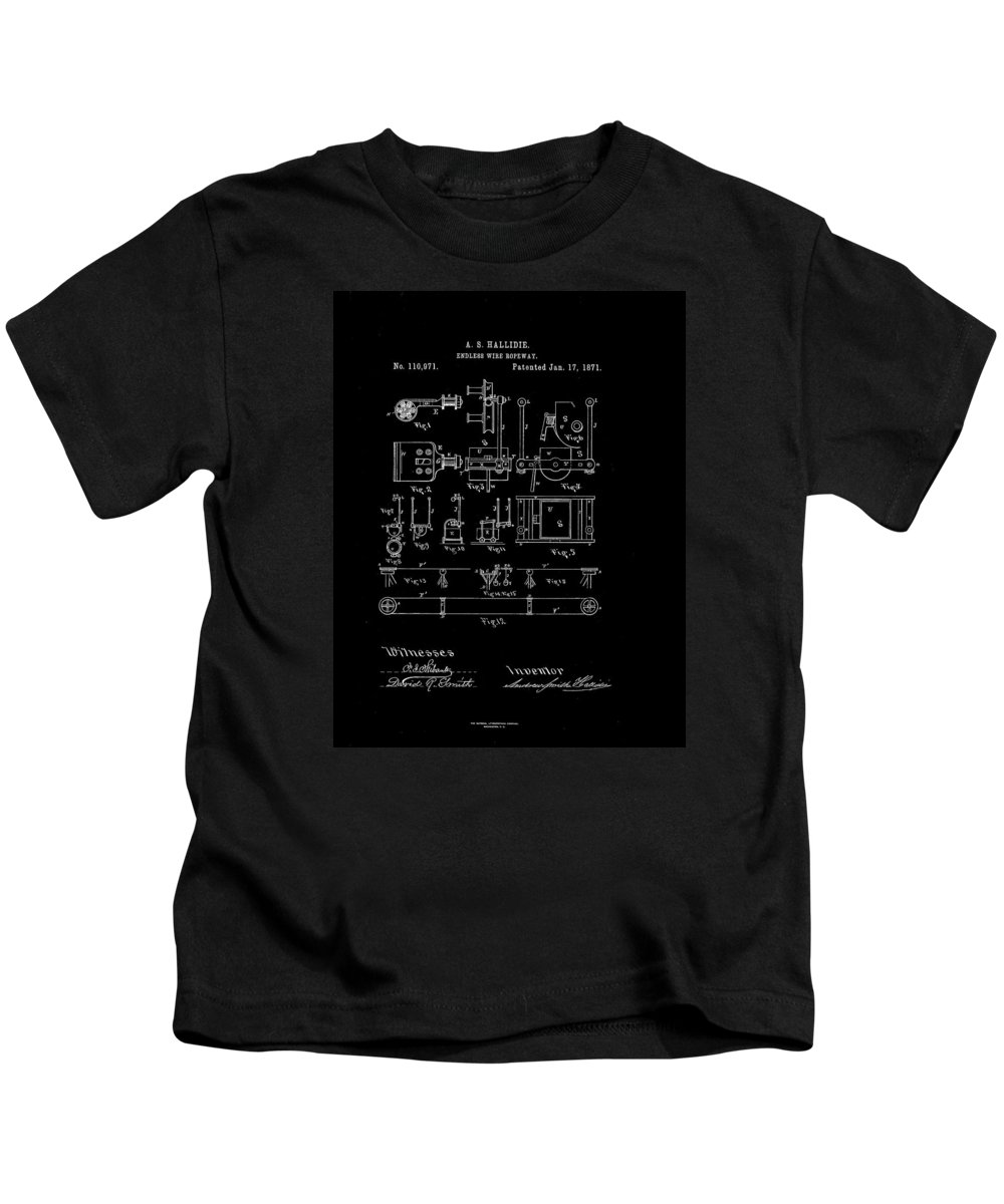 Patent Kids T-Shirt featuring the drawing 1871 Endless Wire Ropeway Patent Drawing by Steve Kearns