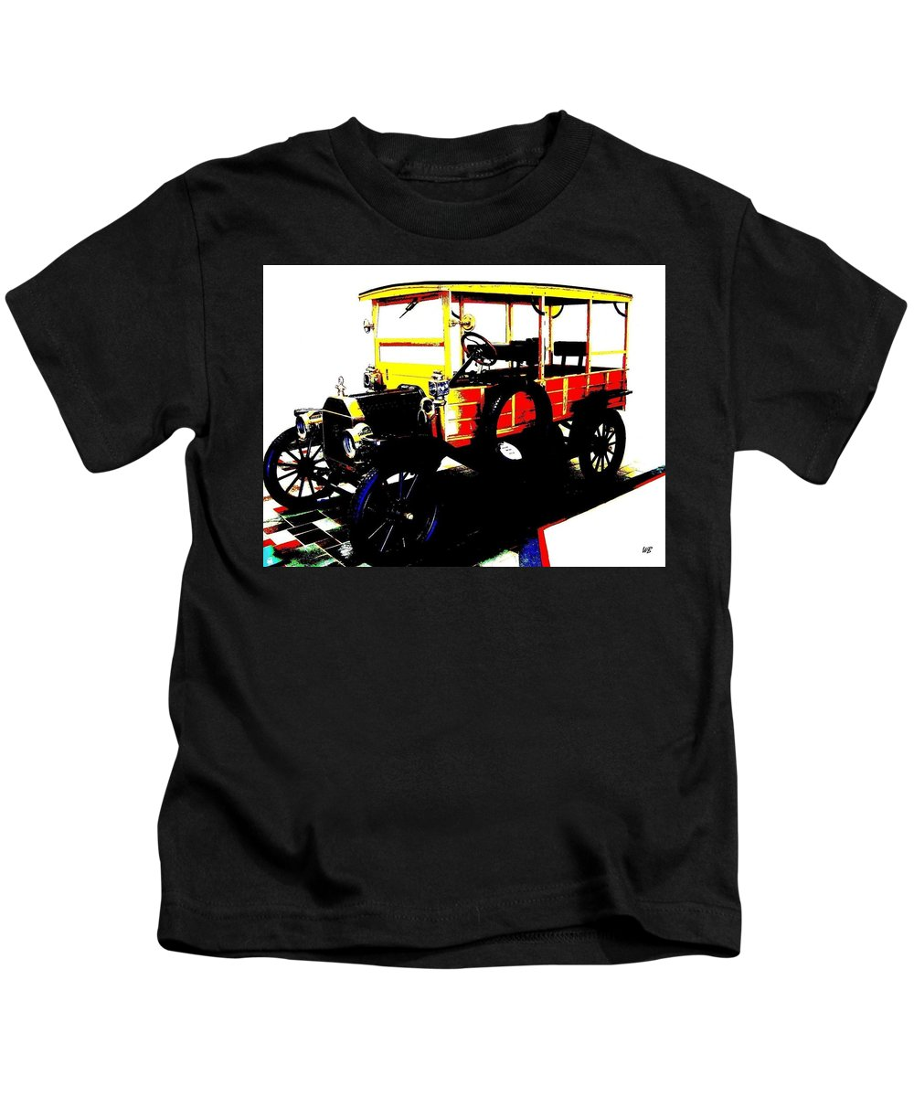 1912 Kids T-Shirt featuring the digital art 1912 Ford Model T Taxi by Will Borden