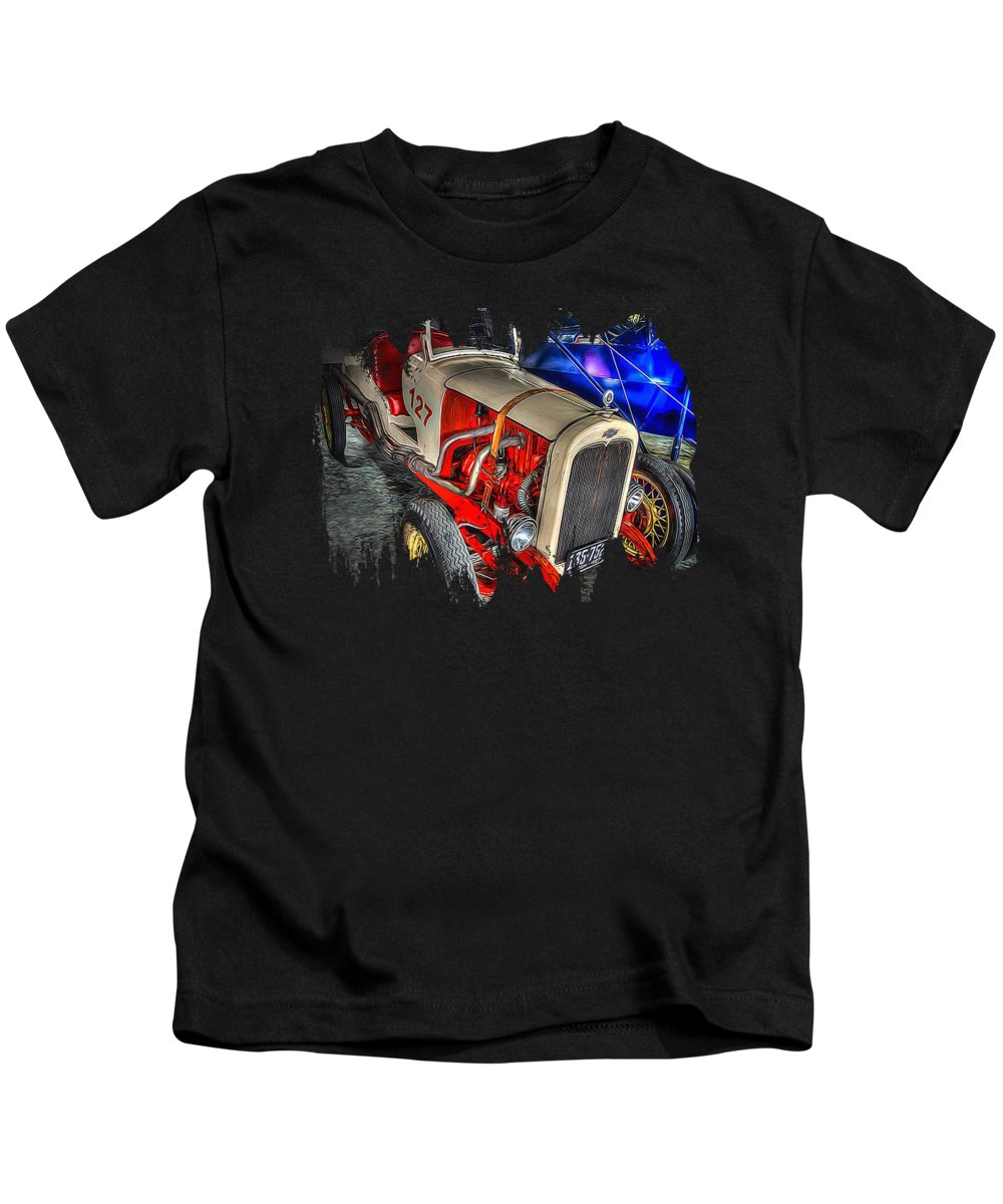 Chevys Kids T-Shirt featuring the photograph 1927 Chevy Dirt Racer by Thom Zehrfeld